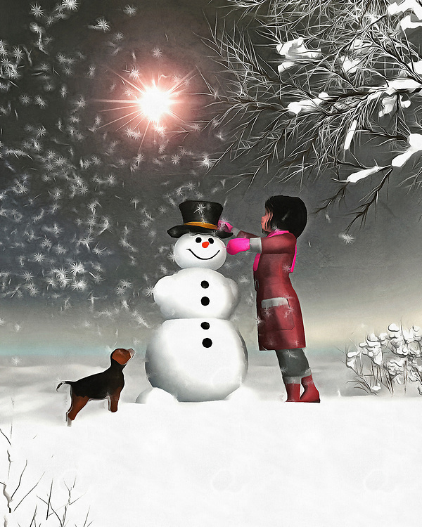 Amy and Buddy find themselves in an enchanting, breathtaking winter wonderland. There is no actual magic in this scene, in which Amy and her faithful dog Buddy work on a snowman together, and yet we can sense that magic all the same. There is something about this scene that brings to mind the very best of winter. It takes us deep into our own memories of those perfect moments in the wintertime. We can look at this moment, and look ahead to where Buddy and Amy will turn up next. Most likely, beside a roaring fire. Available as wall art, on t-shirts, or interior home décor products. .<br /> <br /> BUY THIS PRINT AT<br /> <br /> FINE ART AMERICA<br /> ENGLISH<br /> https://janke.pixels.com/featured/amy-and-buddy-building-a-snowman-jan-keteleer.html<br /> <br /> <br /> WADM / OH MY PRINTS<br /> DUTCH / FRENCH / GERMAN<br /> https://www.werkaandemuur.nl/nl/shopwerk/Kinderen-Kunst--Amy-and-Buddy-Bouwen-aan-een-sneeuwpop/451409/134