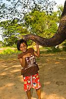 Thai kids playing with an elephant, Elephantstay (Elephant village), Ayutthaya, near Bangkok, Thailand