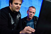 Fatboy Slim preparing with the audio visual creator on the night before the Rockness concert.