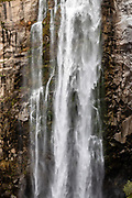 Feather Falls plunges 410 feet (120 meters) in Feather Falls Scenic Area, on the Fall River, a tributary of the Middle Fork Feather River, within Plumas National Forest, Sierra Nevada mountain range, in Butte County, California, USA.