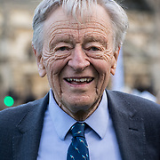 Parliament Square, London, 2021-10-20. Alf Dubs, Baron Dubs  attended the Refugee campaigners gather on Parliament Square, London to oppose The Nationality and Borders Bill which they say will make it harder for asylum seekers to settle in the UK