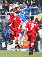 Photo: Mark Stephenson.<br /> Birmingham City v Cardiff City. Coca Cola Championship. 04/03/2007.Cardiff's Joe Ledley and Glen Loovens win the ball