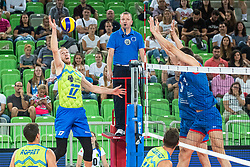 Tine Urnaut of Slovenia in attack during friendly volleyball match between Slovenia and Serbia in Arena Stozice on 2nd of September, 2019, Ljubljana, Slovenia. Photo by Grega Valancic / Sportida