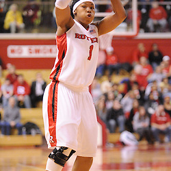Feb 24, 2009; Piscataway, NJ, USA; Rutgers guard Khadijah Rushdan (1) looks for an open pass during the first half of Rutgers' 71-53 victory over Cincinnati at the Louis Brown Athletic Center.