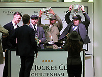 National Hunt Horse Racing - 2020 Cheltenham Festival - Tuesday, Day One (Champion Day)<br /> <br /> England Rugby Union players , Tom Curry, Elliot Daly, Ellis Genge and Jamie George Present the trophies to themselves for the  17.30 National hunt challenge Cup Amateur riders novices steeple chase ( Class 1), at Cheltenham Racecourse.<br /> <br /> COLORSPORT/ANDREW COWIE