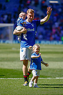 Rangers winning goal scorer comes onto the pitch with his family following the Ladbrokes Scottish Premiership match between Rangers and Celtic at Ibrox, Glasgow, Scotland on 12 May 2019.