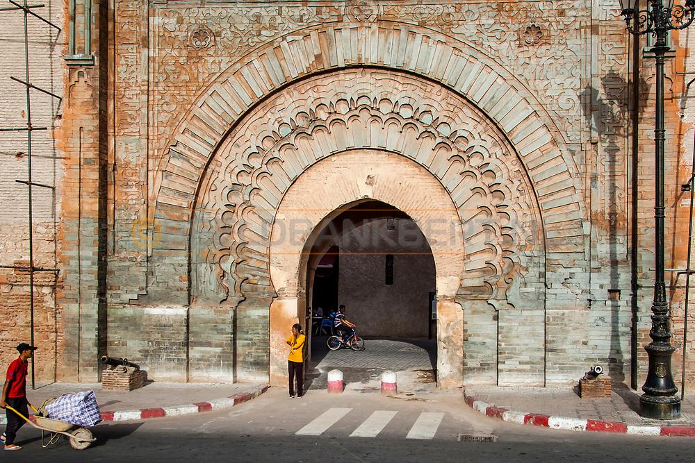 06-10-2015 -  Foto van Poorten naar de medina bij De stad van Marrakech in Marrakech, Marokko.