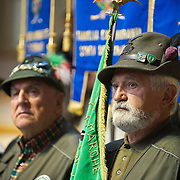 LONGARONE, ITALY - OCTOBER 09:  Two Alpini stand during during the memorial for the Vajont victims on October 9, 2013 in Longarone, Italy. Today is the 50th anniversary of the Vajont disaster, which occurred on 9th October 1963, and is the worst landslide disaster in European history with 2000 people killed.  (Photo by Marco Secchi/Getty Images)