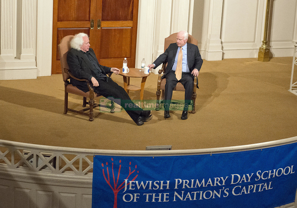 May 24, 2017 - Washington, District of Columbia, United States of America - United States Senator John McCain (Republican of Arizona), in conversation with writer Leon Wieseltier, explores parallels between his life and that of the late Israeli Prime Minister Yitzhak Rabin, sharing his own journey from soldier to statesman for the Jewish Primary Day School of the Nation's Capital's eleventh annual Yitzhak Rabin Memorial Lecture at Sixth & I Historic Synagogue, in Washington, DC, Wednesday, May 24, 2017. .Credit: Ron Sachs (Credit Image: © Ron Sachs/CNP via ZUMA Wire)