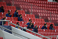 PIRAEUS, GREECE - DECEMBER 09: Players of FC Porto during the UEFA Champions League Group C stage match between Olympiacos FC and FC Porto at Karaiskakis Stadium on December 9, 2020 in Piraeus, Greece. (Photo by MB Media)
