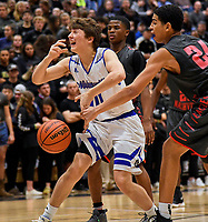 Nolensville Knights Nathan Foutch (10) during the Nolensville Knights vs East Nashville Sub-State basketball playoff game at Nolensville High Monday, March 4, 2019.  The Knights ended the season with a 71-56 loss.<br /> Photo Harrison McClary/News & Observer