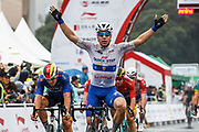 Arrival sprint Fabio Jakobsen (NED - QuickStep - Floors) winner during the Tour of Guangxi 2018, Stage 3, Nanning - Nanning (125,4 km) on October 18, 2018 in Nanning, China - photo Luca Bettini / BettiniPhoto / ProSportsImages / DPPI