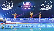 Venues Sponsor<br /> LEN Champions League<br /> - (white cap) vs  -(blue cap)<br /> LEN Champions League Ostia<br /> Polo Natatorio Freccia Rossa <br /> Ostia, Italy ITA <br /> Photo © G. Scala/Deepbluemedia