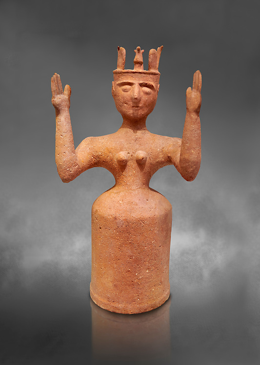 Minoan Postpalatial terracotta  goddess statue with raised arms,  Karphi Sanctuary 1200-1100 BC, Heraklion Archaeological Museum, grey background. <br /> <br /> The Goddesses are crowned with symbols of earth and sky in the shapes of snakes and birds, describing attributes of the goddess as protector of nature. .<br /> <br /> If you prefer to buy from our ALAMY PHOTO LIBRARY  Collection visit : https://www.alamy.com/portfolio/paul-williams-funkystock/minoan-art-artefacts.html . Type -   Heraklion   - into the LOWER SEARCH WITHIN GALLERY box. Refine search by adding background colour, place, museum etc<br /> <br /> Visit our MINOAN ART PHOTO COLLECTIONS for more photos to download  as wall art prints https://funkystock.photoshelter.com/gallery-collection/Ancient-Minoans-Art-Artefacts-Antiquities-Historic-Places-Pictures-Images-of/C0000ricT2SU_M9w