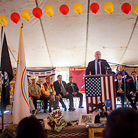 081415       Cable Hoover<br /> <br /> Republican Sen. John McCain of Arizona speaks to the audience during the Codetalker Day celebration Friday in Window Rock.