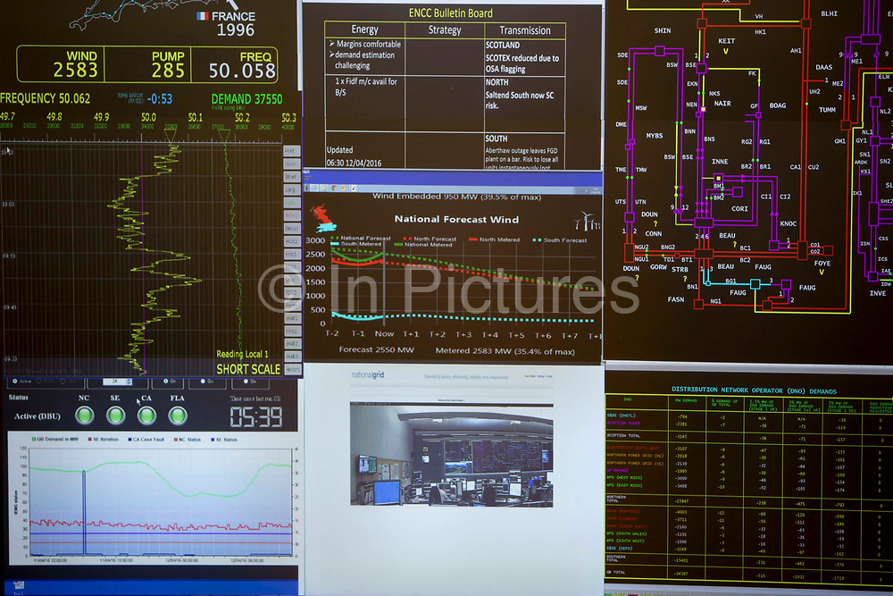 The screens inside the National Grid electricity control room closely monitor weather and  the flow of high voltage electric power around the entire UK network from their head quarters in Berkshire, United Kingdom.