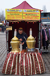 Sahlep Middle Eastern drink stall at weekend Mauer Park Market on Sunday in Prenzlauer Berg Berlin, Germany