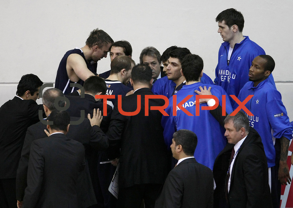 Anadolu Efes's players during their Turkish Basketball league derby match  Fenerbahce Ulker between Anadolu Efes at Caferaga Sports Hall in Istanbul, Turkey, Saturday 01, 2012. Photo by TURKPIX