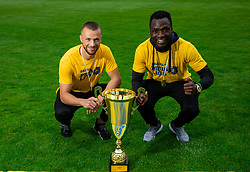 David Brekalo and Ovbokha Agboyi during celebration of NK Bravo, winning team in 2nd Slovenian Football League in season 2018/19 after they qualified to Prva Liga, on May 26th, 2019, in Stadium ZAK, Ljubljana, Slovenia. Photo by Vid Ponikvar / Sportida