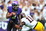 FORT WORTH, TX - SEPTEMBER 13:  Trevone Boykin #2 of the TCU Horned Frogs scrambles against the Minnesota Golden Gophers on September 13, 2014 at Amon G. Carter Stadium in Fort Worth, Texas.  (Photo by Cooper Neill/Getty Images) *** Local Caption *** Trevone Boykin