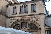 Exterior of Cafe Santa Cruz is adjoining the Santa Cruz Monastery, Coimbra, Portugal. This restaurant has a fado performance every evening