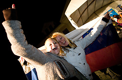 Fans of Slovenian bronze medalist cross-country skier Petra Majdic at reception at her home town Dol pri Ljubljani after she came from Vancouver after Winter Olympic games 2010, on March 1, 2010 in Dol pri Ljubljani, Slovenia. (Photo by Vid Ponikvar / Sportida)