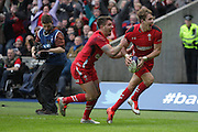 15.02.2015. Edinburgh. RBS 6 Nations 2015 Scotland v Wales.  Liam Williams and Rhys Webb for Wales celebrate a try which was later disallowed. from Murrayfield Stadium, Edinburgh.