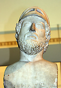 Sculpted marble portraiture of Pericles, former ruler of Athens. Roman, 2nd century copy of Greek original depicting him as a model citizen soldier.