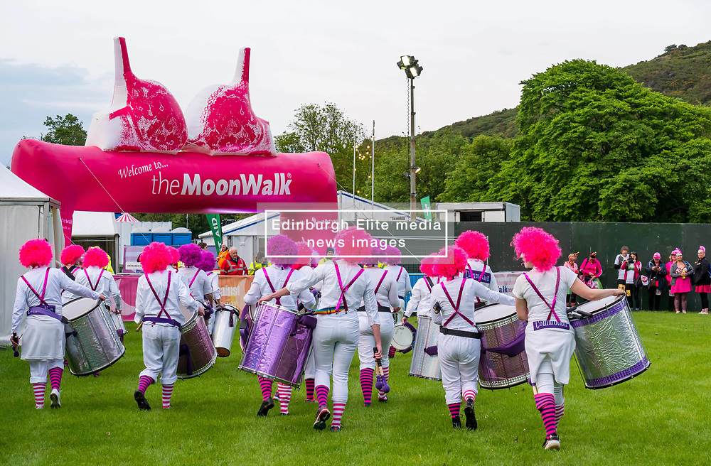 Pictured: Moonwalk Scotland, Edinburgh, Scotland, United Kingdom, 08 June 2019. The 14th Moonwalk Scotland 'Walk the Walk' night-time event with several thousand participants wearing specially decorated bras with a circus theme  to raise money  and awareness for breast cancer causes. Drumming band Commotion.<br /> <br /> Sally Anderson | EdinburghElitemedia.co.uk