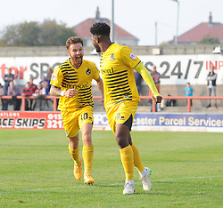 Ellis Harrison of Bristol Rovers celebrates with Matt Taylor of Bristol Rovers - Mandatory byline: Neil Brookman/JMP - 07966 386802 - 03/10/2015 - FOOTBALL - Globe Arena - Morecambe, England - Morecambe FC v Bristol Rovers - Sky Bet League Two