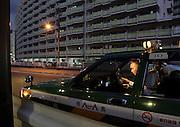 taxi driver inside his car Yokohama Japan