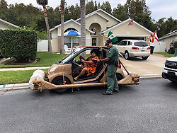 "A Florida man was apprehended by cops in a mock arrest for ""speeding"" in his Fred Flintstone car. Deputies from Pasco County Sheriff's Department detained Don Swartz when he was spotted in his modified Smart Car in Wesley Chapel, Florida. Cops then staged a mock arrest of Swartz claiming he was speeding and being ""unruly"". Photos released by the sheriff's office show Swartz, who was dressed up as Fred, driving a Smart car decked out to look like the Flintstones' famous leg-powered vehicle. In a post, the sheriff's office said: ""Mr Flintstone was issued a citation for speed and became unruly and had to be detained. After further investigation, Mr Flintstone was issued a Notice To Appear and released. Deputy Echevarria then seized the vehicle which is now part of the PSO fleet. This is what Intelligence-Led Policing looked like in the stone age."". 14 Nov 2018 Pictured: Don Swartz and his Flintstone car. Photo credit: MEGA TheMegaAgency.com +1 888 505 6342"