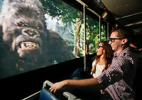 People enjoy King Kong 360 3D on the tram tour at Universal Studios Hollywood , CA.  2010.  Photo by David Sprague ©2010. RIGHTS GRANTED FOR PUBLICITY/MARKETING ONLY. NO ADVERTISING/BILLBOARD/PRINT RIGHTS ARE GRANTED. COPYRIGHT REMAINS WITH PHOTOGRAPHER.