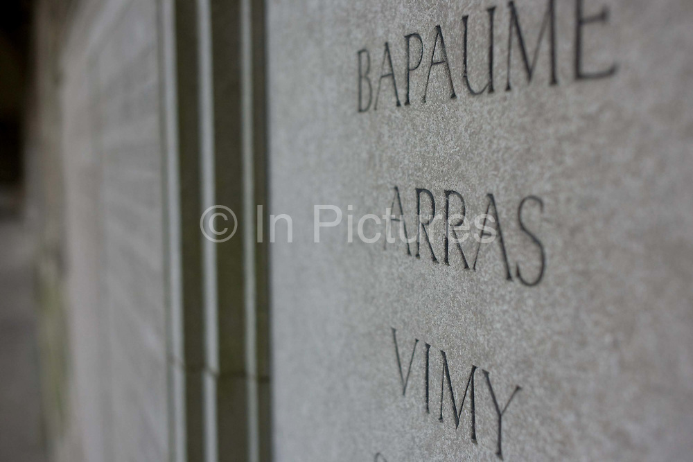 The names of battles in nothern France, scenes of slaughter and sacrifice for young men of the First World War, seen on a memorial at Wincheters College, England where many old boys schooled here and who went on to become leaders and officers in the trenches. The lost generation of British youth is displayed on such memorials across the country, killed at Arras, Bapaume and Vimy - and especially on the Somme during the conflict called 'the war to end all wars'. World War I (WWI) was a global war centred in Europe that began on 28 July 1914 and lasted until 11 November 1918. Ultimately, more than 70 million military personnel, including 60 million Europeans, were mobilised in one of the largest wars in history. More than 9 million combatants were killed.