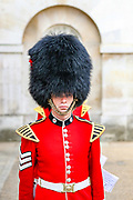 Queen's Ceremonial Guard music band is being inspected by their commander at the Horse Guards, in central London, on Wednesday, Sept 2, 2020.  (VXP Photo/ Vudi Xhymshiti)
