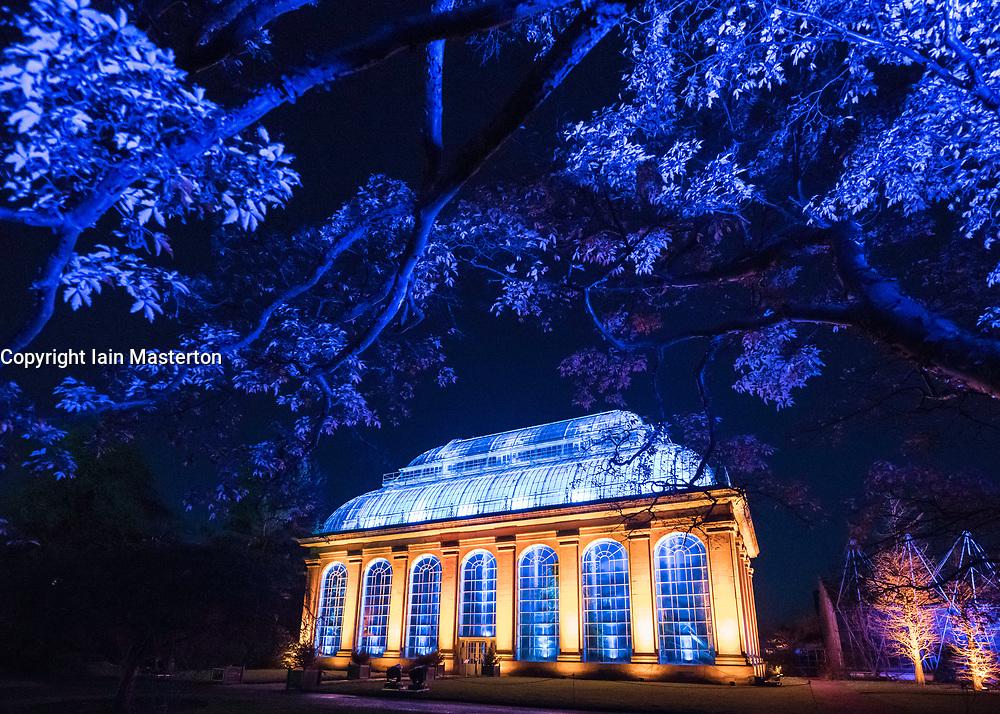 Edinburgh's newest festive event, Christmas at the Botanics. The illuminations held inside Edinburgh's Royal Botanic Gardens runs for 29 nights. The Glasshouse illuminated in spectacular colours.