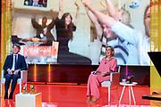 HILVERSUM, 9-7-2020 Koningin Maxima tijdens de online bekendmaking vande winnaars van de Appeltjes van Oranje van het Oranje Fonds. Drie felicitatieteams reiken op locatiede prijzen uit aan de winnaars. Vanwege de maatregelen omtrent het coronavirus kan de traditionele<br /> uitreiking op Paleis Noordeinde niet doorgaan.<br /> <br /> Queen Maxima during the online announcement of the winners of the Appeltje van Oranje of the Oranje Fonds. Three congratulatory teams will hand out the prizes to the winners on location. Due to the coronavirus measures, the traditional the ceremony at Noordeinde Palace will not take place