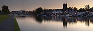 Panoramic image of Henley on Thames at dusk, Oxfordshire, Uk