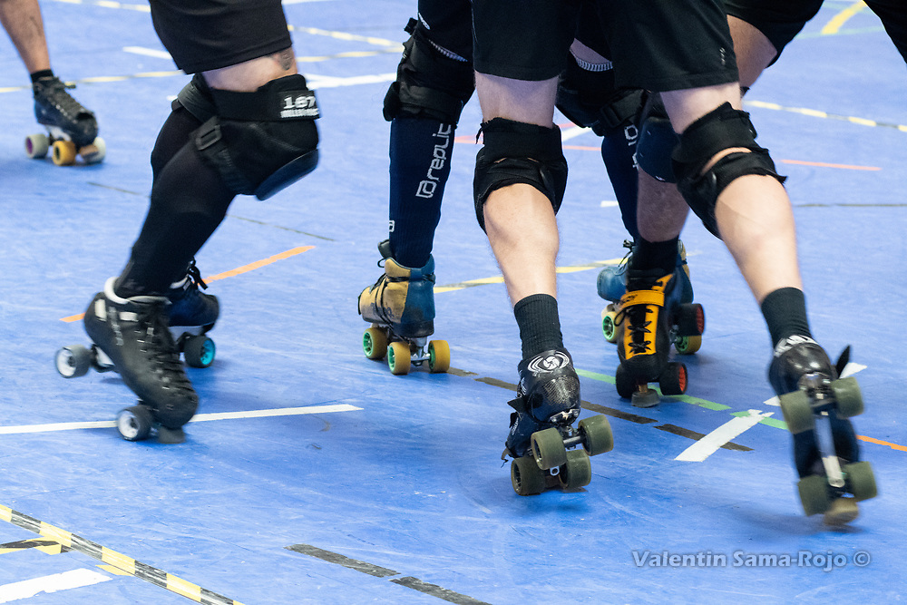 Detail of the legs and the skates of the players of Team Belgium and Team Spain during the MRDWC2018 in Barcelona, Spain.