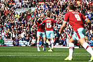 Matthew Taylor of Burnley celebrates with his teammates after scoring his teams 2nd goal. Skybet football league championship match, Burnley  v Birmingham City at Turf Moor in Burnley, Lancs on Saturday 15th August 2015.<br /> pic by Chris Stading, Andrew Orchard sports photography.