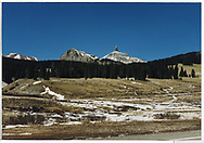 View of Lizard Head Peak from highway over the Pass.<br /> RGS  Snow, CO  ca. ? 1960