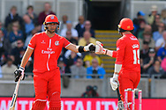 Liam Livingstone of Lancashire and Arron Lilley of Lancashire touch gloves during the Vitality T20 Finals Day Semi Final 2018 match between Worcestershire Rapids and Lancashire Lightning at Edgbaston, Birmingham, United Kingdom on 15 September 2018.