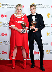 Daisy May Cooper and Charlie Cooper with the Best Scripted Comedy award for This Country in the press room at the Virgin TV British Academy Television Awards 2018 held at the Royal Festival Hall, Southbank Centre, London.