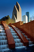"""""""Cascade at the Wortham"""" in downtown Houston's Riverwalk area.<br /> <br /> Houston is the most populous city in Texas and the fourth most populous city in the United States, located in Southeast Texas near the Gulf of Mexico. Houston was founded in 1836 on land near the banks of Buffalo Bayou (now known as Allen's Landing) and incorporated as a city on June 5, 1837. The city was named after former General Sam Houston, who was president of the Republic of Texas and had commanded and won at the Battle of San Jacinto 25 miles  east of where the city was established. The burgeoning port and railroad industry, combined with oil discovery in 1901, has induced continual surges in the city's population."""