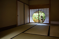 Ichijo Ekan was a noble during the Edo Period, the son of Enperoro Goyozei but was adopted by the Ichijo clan.  He served as Advisor and Regent to the Emperor, brother Enperor Gomizuno.  In later years he became a Buddhist monk and took the name Chitoku Ekan.  He was an affcionado of the arts, especially tea ceremony, flower arrangement, architecture and calligraphy.  Naturally, these interests led him to construct a retreat which was originally built in Kyoto and later brought to Kamakura.. Ichijo Ekan Sanso is an exquisite example of Japanese court architecture often compared to Katsura Rikyu.  The use of natural materials in the villa and garden highlights the nature loving tastes of the time.