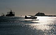 Seaplane,ship,Nobbys Headland, Newcastle harbour,Australia