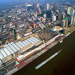 Aerial view of New Orleans Louisiana,towards the Superdome before Hurricane Katrina, showing the Mississippi River Traffic levy and View North Towards lake Ponchartchain.