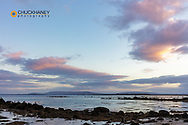 Sunset clouds over bay in Galway, Ireland