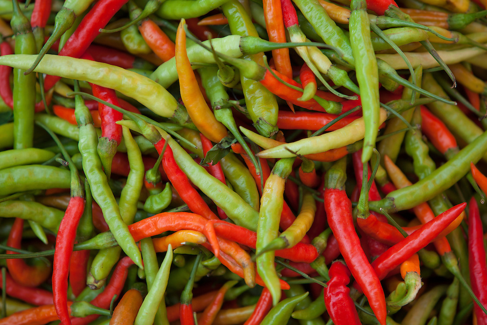 Asia, Thailand, Bangkok, Red and green chilis provide spicy flavor for curries and many other Thai dishes