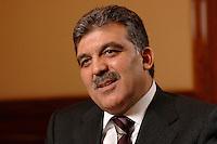 03 APR 2007, BERLIN/GERMANY:<br /> Abdullah Guel, Aussenminister der Tuerkei, waehrend einem Interview, Hotel Ritz-Charlton<br /> IMAGE: 20070403-01-016<br /> KEYWORDS: Abdullah Gül, Türkei